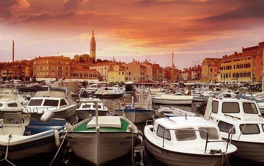 Croatia, City, Rovinje, Port, Sea, Holiday, Boot, Sky