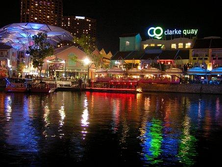 Singapore, Clark Quay, Sea, Architecture, Skyline, City