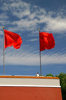Red, Flag, Socialism, Flagpole, Flutter, Blow, China