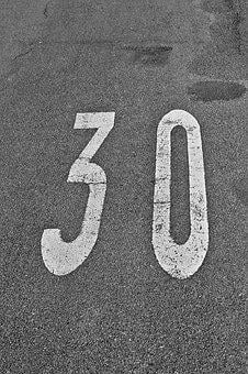 Thirty, Number, Speed, Kmh, Street Sign, Road, Traffic