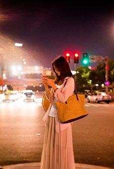 Portrait, Night View, Female, Woman, Asia, City, Street