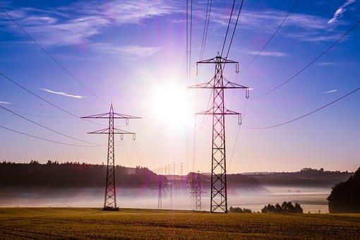 Pylon, Cables, Sunrise, Sunlight, Sun, Fog, Mist, Field