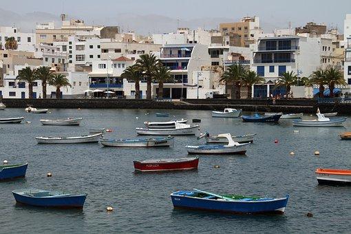 Boats, Town, Harbor, Lanzarote, Canary Islands