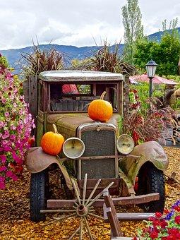 Truck, Pumpkins, Flowers, Display, Decoration