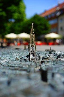 Relief, City, Ulm, Metal, Ulm Cathedral, Münster, Model