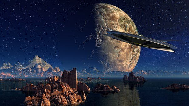 Landscape, Water, Rock, Spaceship, Planet