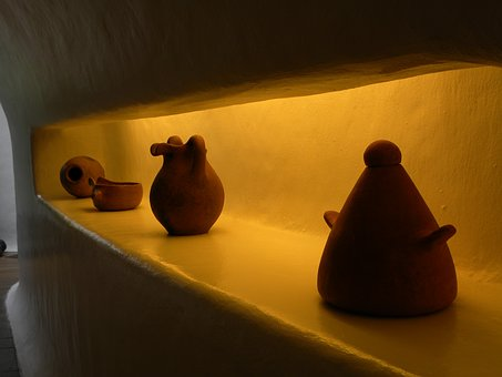 Vases Clay, Shelving, Art, Dark