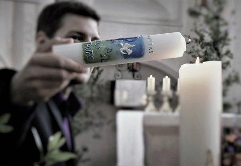 Baptism, Christening, Candle, Flame, Religion, Light