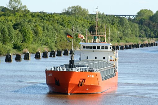 Container, Ship, River, Boot, Container Ship, Freighter