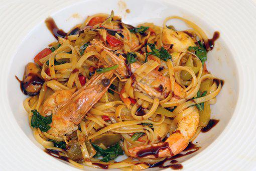 Pasta, Shrimps, Food, Seafood, Dinner, Cuisine, Dish