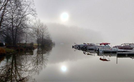 Foggy, Lake, Marina, Water, Landscape, Fog, Boat