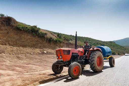 Tractor, Road, Algeria, Agriculture, Faceplate