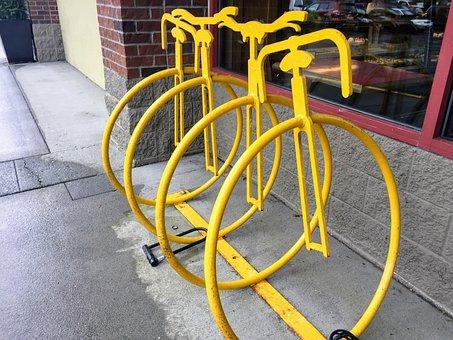 Bike Rack, Bicycle, Security, Yellow, Metal, Lock