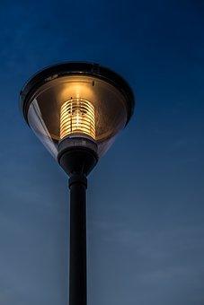 Street Lamp, Modern, Light, Sunset, Heat, Warmth, City