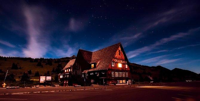 Lodge, Hotel, Resort, Sky, Clouds, Sunset, Dusk, Stars
