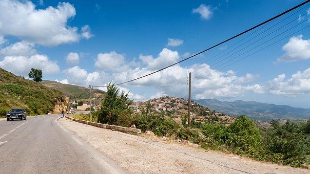 Mountains, Kabiley, Algeria, Road, Clouds, Sky