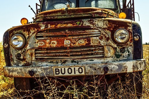 Old Truck, Lorry, Car, Headlights, Countryside, Rural