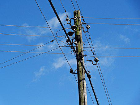Pole, Current, Energy Network, Wires, Electric Line