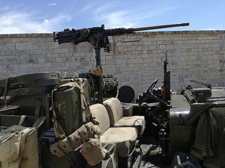 Machine Gun, Jeep, War, Weapon, Army, American, Former