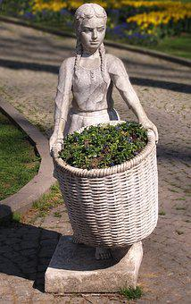 Flower Girl, Garden Figurines, Basket