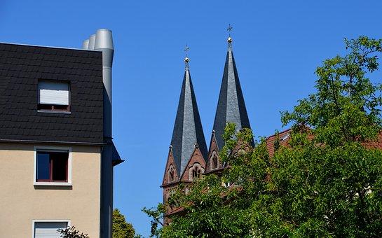 Church, Towers, Heidelberg, Weststadt, Home, Building