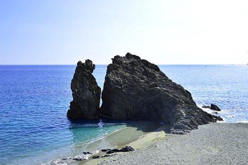 Rock, Sea, Italy, Monterosso Al Mare