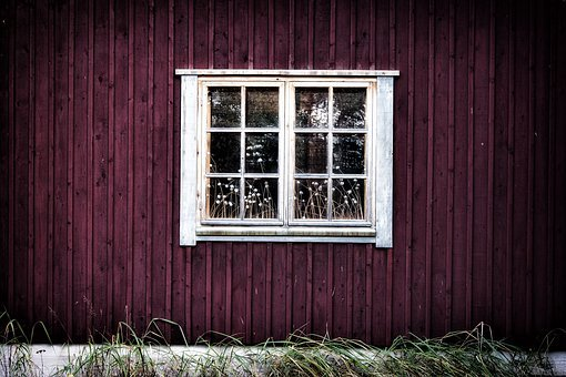 Window, House, Red, Old, Building, Landscape, Shadow