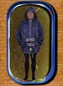 Man, Rain Jacket, Tin Of Sardines, Oily