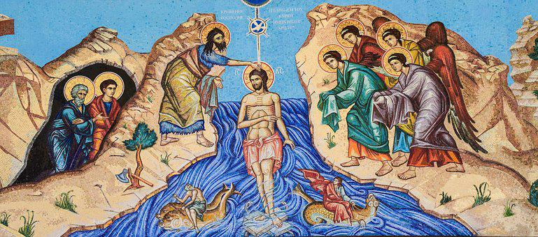 The Baptism Of The Lord, Mosaic, Iconography
