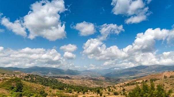 Mountains, Kabiley, Algeria, Landscape, Clouds, Sky