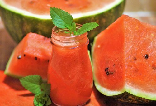 Melon, Fresh Juice, Watermelon Juice, Red, Refreshing