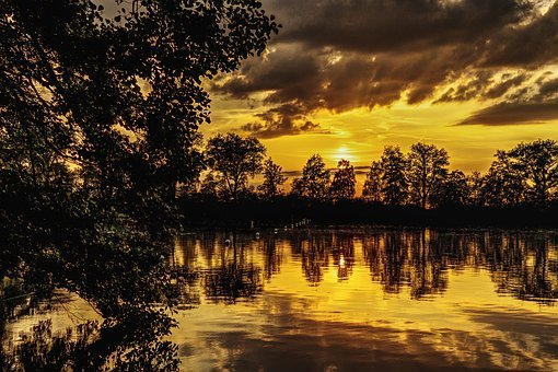 Sunset, Lake, Mirroring, Abendstimmung, Nature, Romance