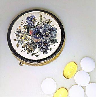 Pill Box, Decorated, Brass, Tablets, Medical, Drug