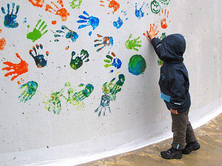 Child, Hand, Children's Hands, Colorful, Wall, Finger