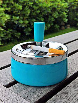 Ashtray, Smoking, Rotary Ashtray, Metal, Turquoise