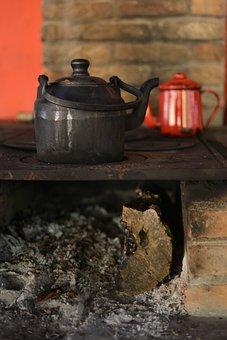 Wood Burning Stove, Firewood, Fire, Coal, Kettle