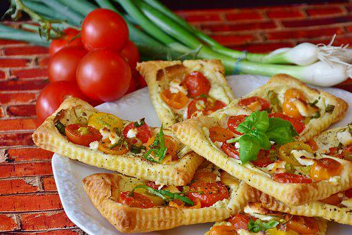 Starter, Puff Pastry, Tomatoes, Cream Cheese, Mediteran