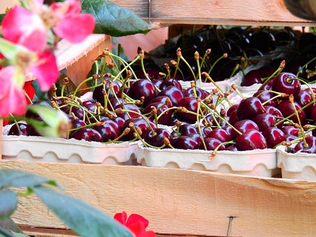 Fruit, Cherry, Drupe, Sales Stand, Sell, Market