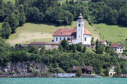 Church, Flüelen, Water, Lake, Bank, Waters, Ship
