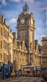 Scotland, Edinburgh, City, England, Road, Scene, Houses