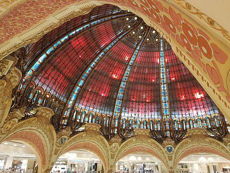 Gallery, Lafayete Gallery, Paris, Dome, Ceiling