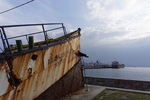 Greece, Ship, Boat, Old, Elefsina, Landscape, Port