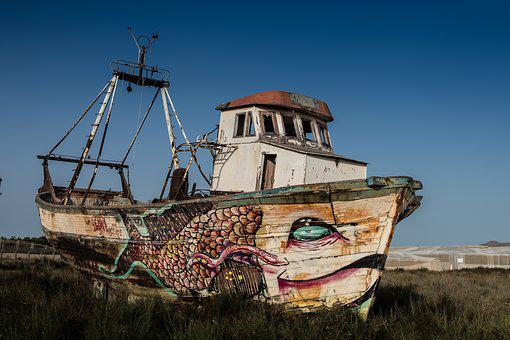 Abandoned Ship, Earth, Without The Sea, Old, Art