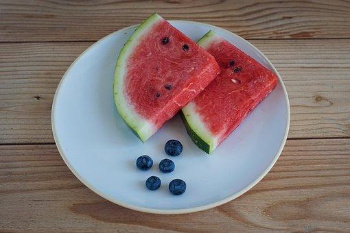 Watermelon, Fruit, Red, Plate, Jagoda, Blueberries