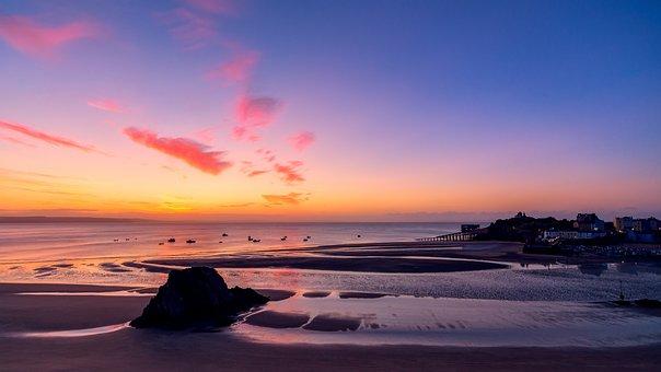 Seascape, Sunrise, Water, Landscape, Sea, Beach