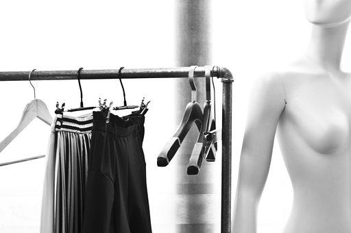 Black And White, Model, Hanger, Skirt, Clutter