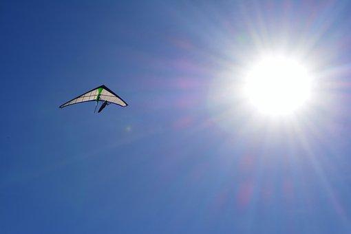 Hang Gliding, Blue Sky, Sol, Flight, Nature, Sport