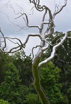 Tree, Sculpture, Art, Twisted Metal, Chrome