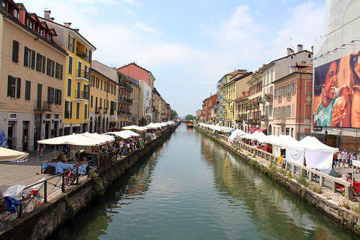 Milan, Navigli, River, Nightlife, Center, Town, Water
