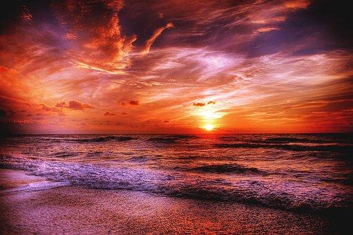 Sun, Denmark, Sea, Summer, Sunset, Nature, Landscape